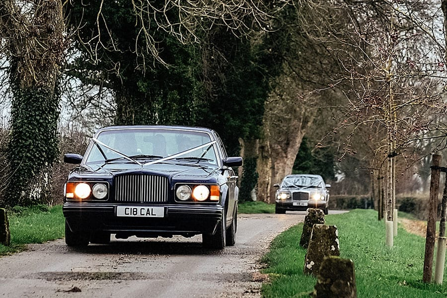 wedding cars Cheltenham driving down a lane