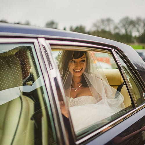 bride in Bentley Brooklands