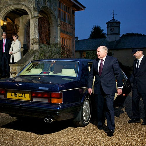 wedding guest and chauffeur with Bentley Brooklands