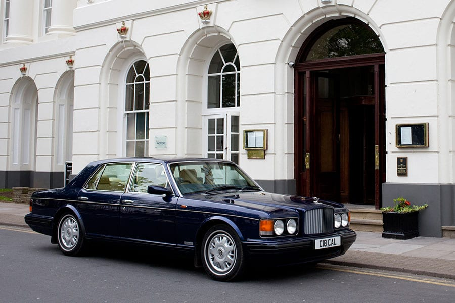 bentley brooklands outside the Queens hotel Cheltenham for private hire