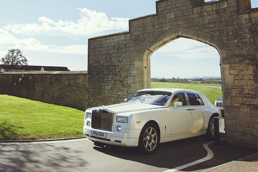 Rolls-Royce Phantom wedding car in pearlescent white