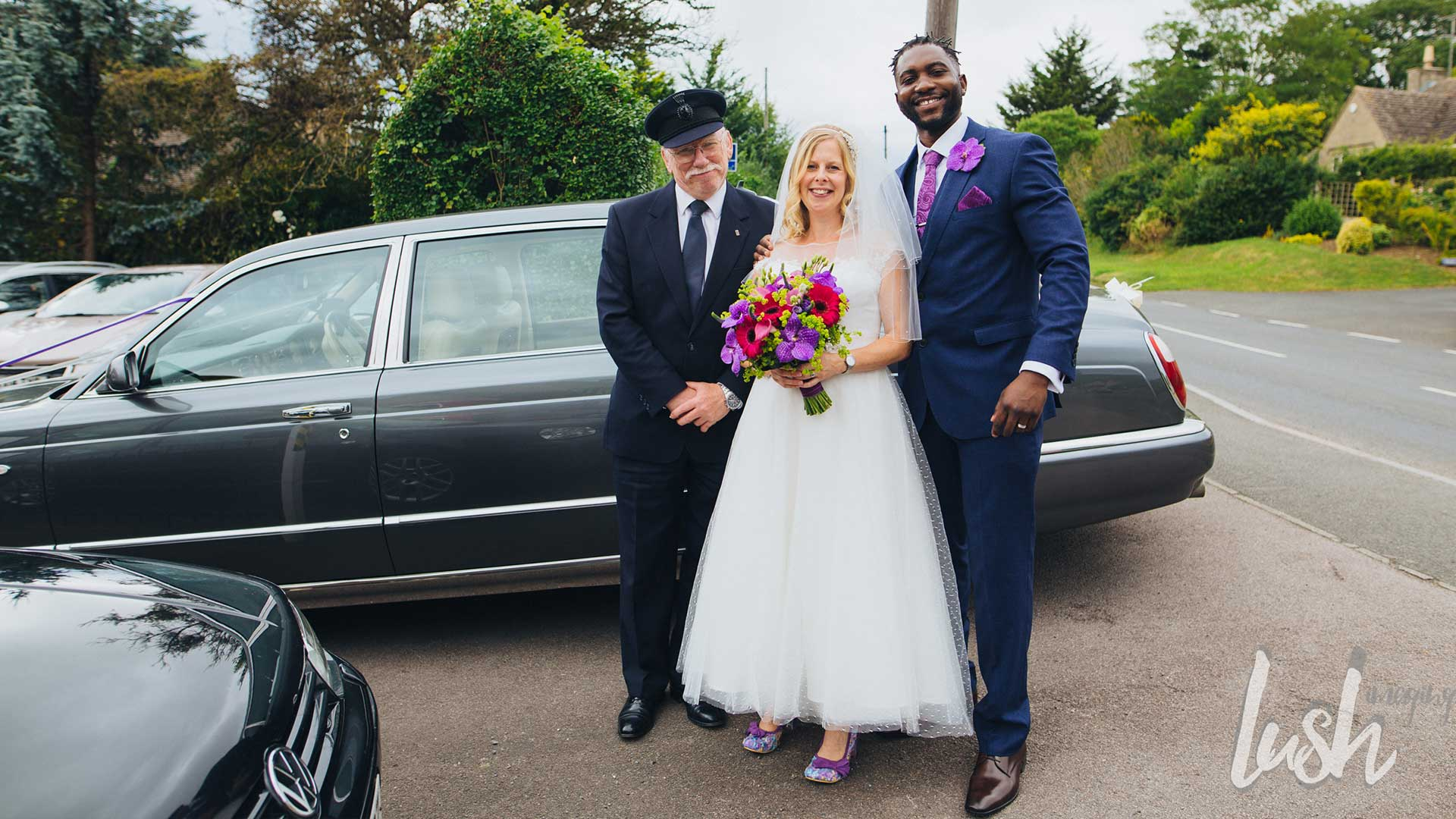 Newly-weds with Azure's Chauffeur in front of the Bentley Arnage