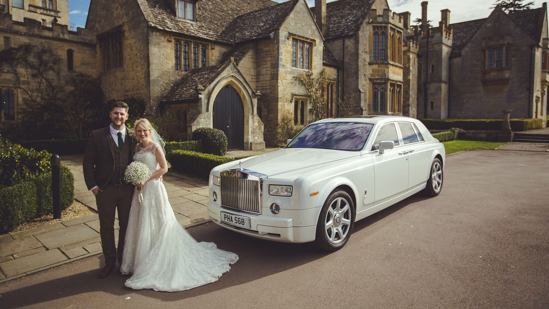 Tony and Steph with the Rolls-Royce Phantom Wedding Car
