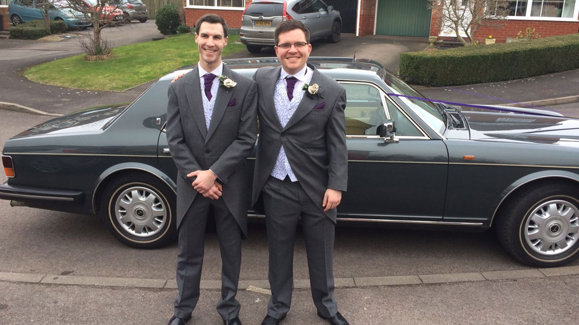 The Groom and Best Man with the Rolls-Royce Flying Spur