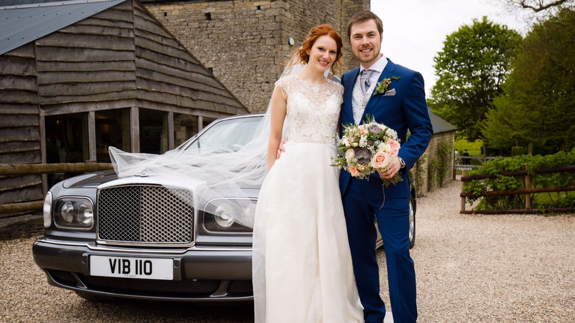 Ben and Beth with their Bentley Arnage wedding car