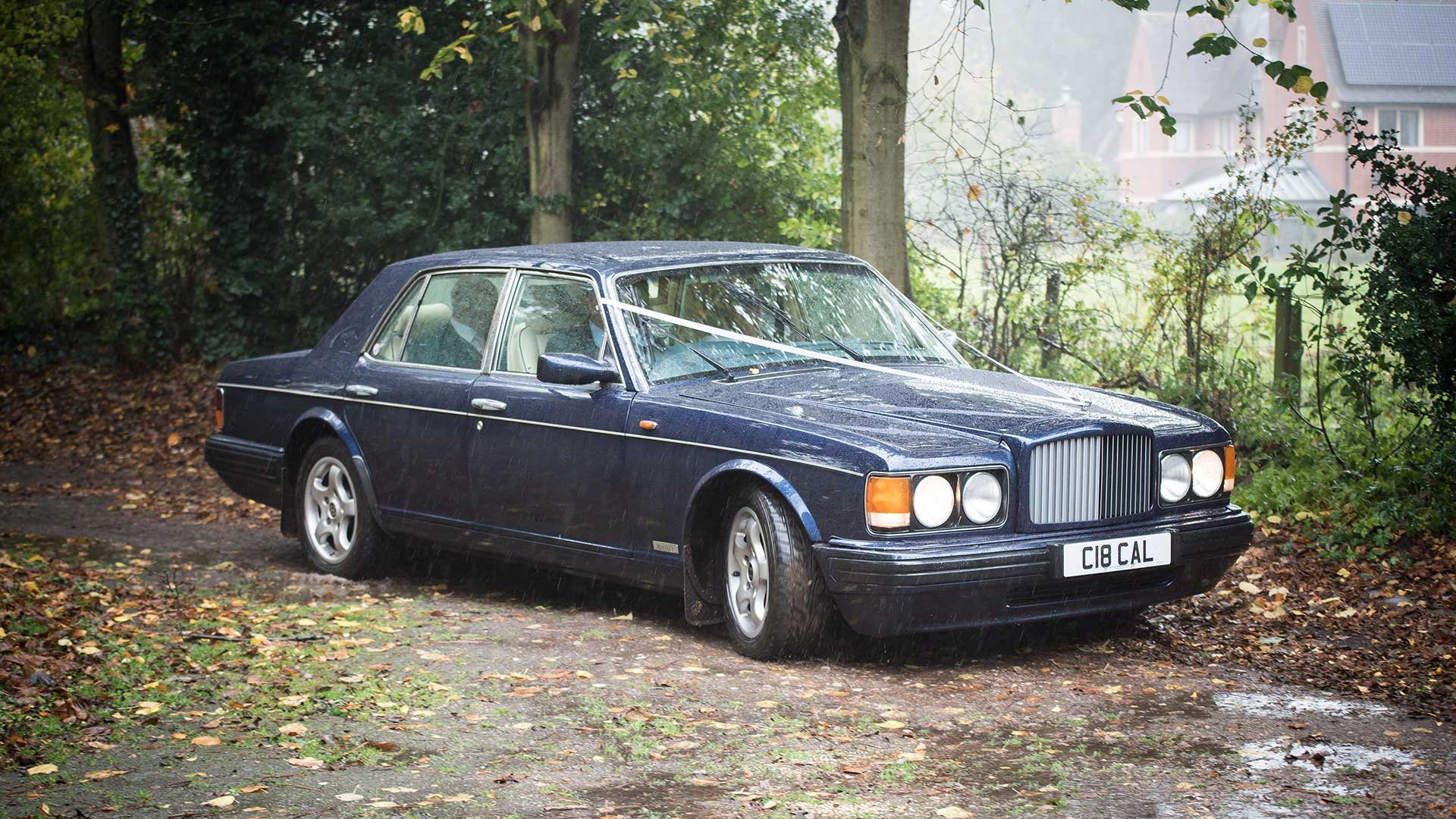 The Bentley Brooklands wedding car in Peacock Blue