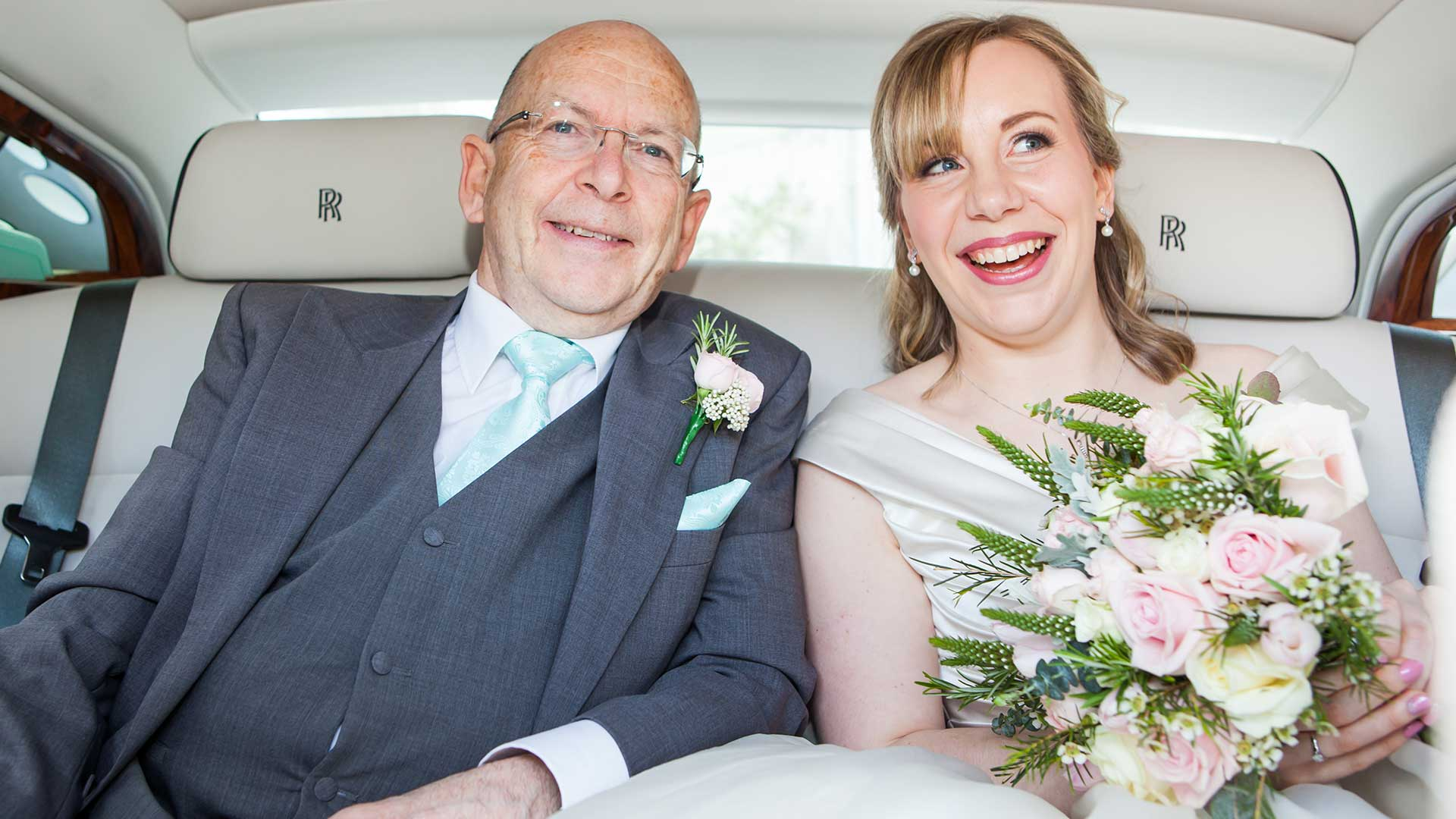 The bride and her Dad on the way to the ceremony in the Rolls-Royce Phantom