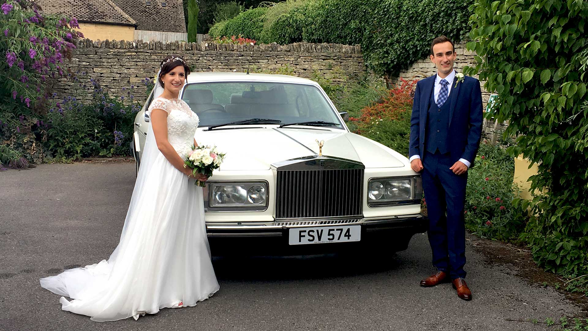 Newly-wed couple Duncan and Katerina with the Rolls-Royce Silver Spur wedding car