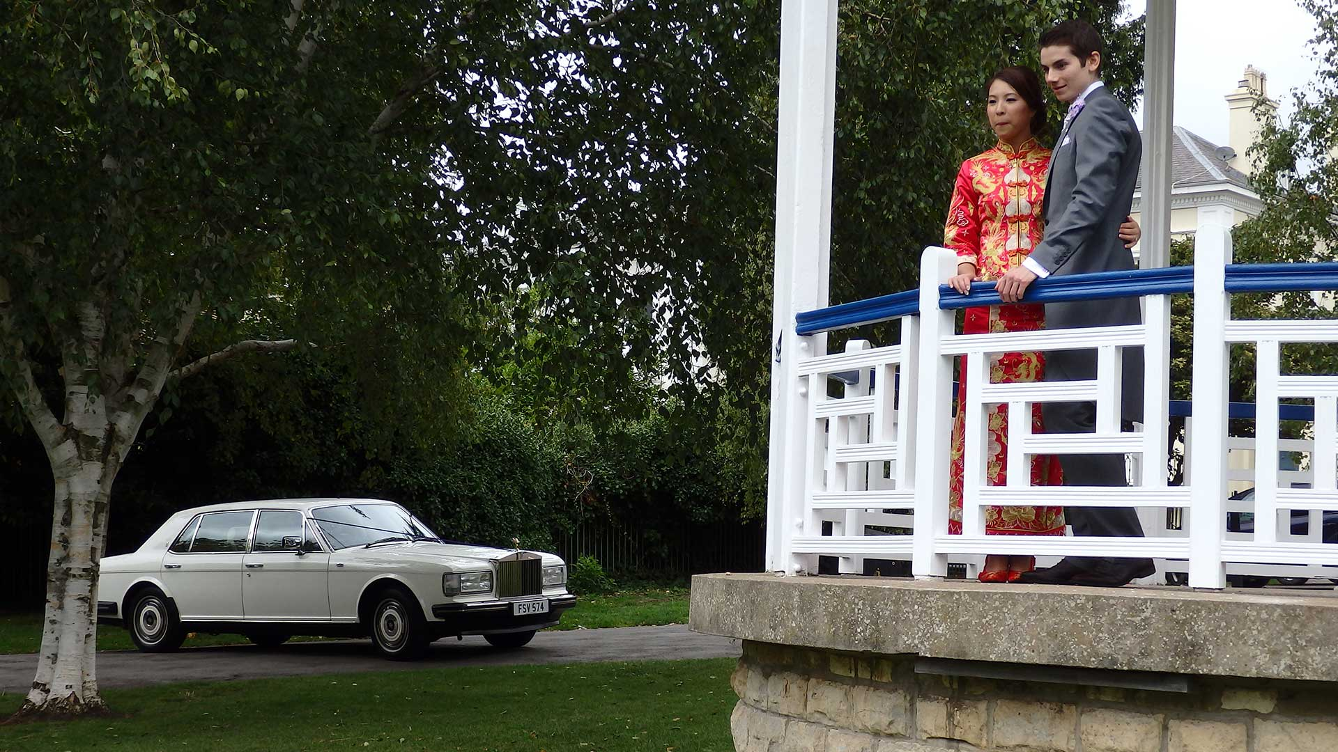 Niall and Elle on the bandstand overlooking the Rolls-Royce Silver Spur