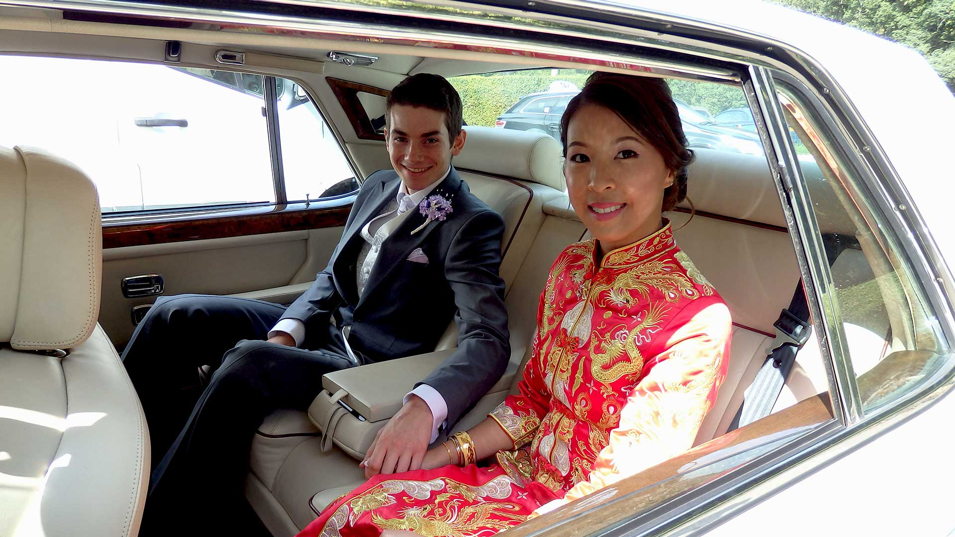 Newly-wed couple Niall and Elle in the Rolls-Royce Silver Spur
