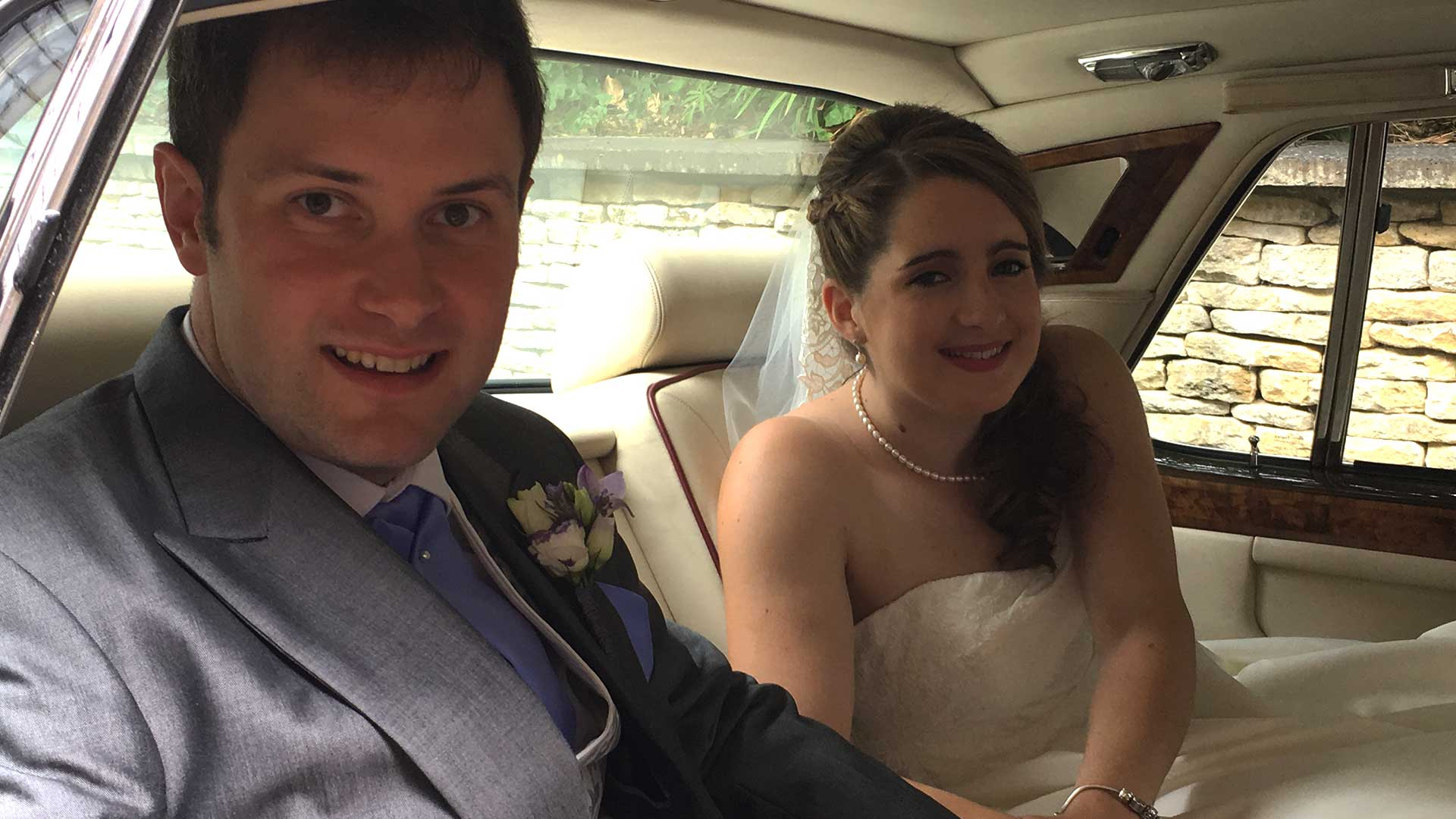 Newly-wed couple Oliver and Nadia in the Rolls-Royce Silver Spur