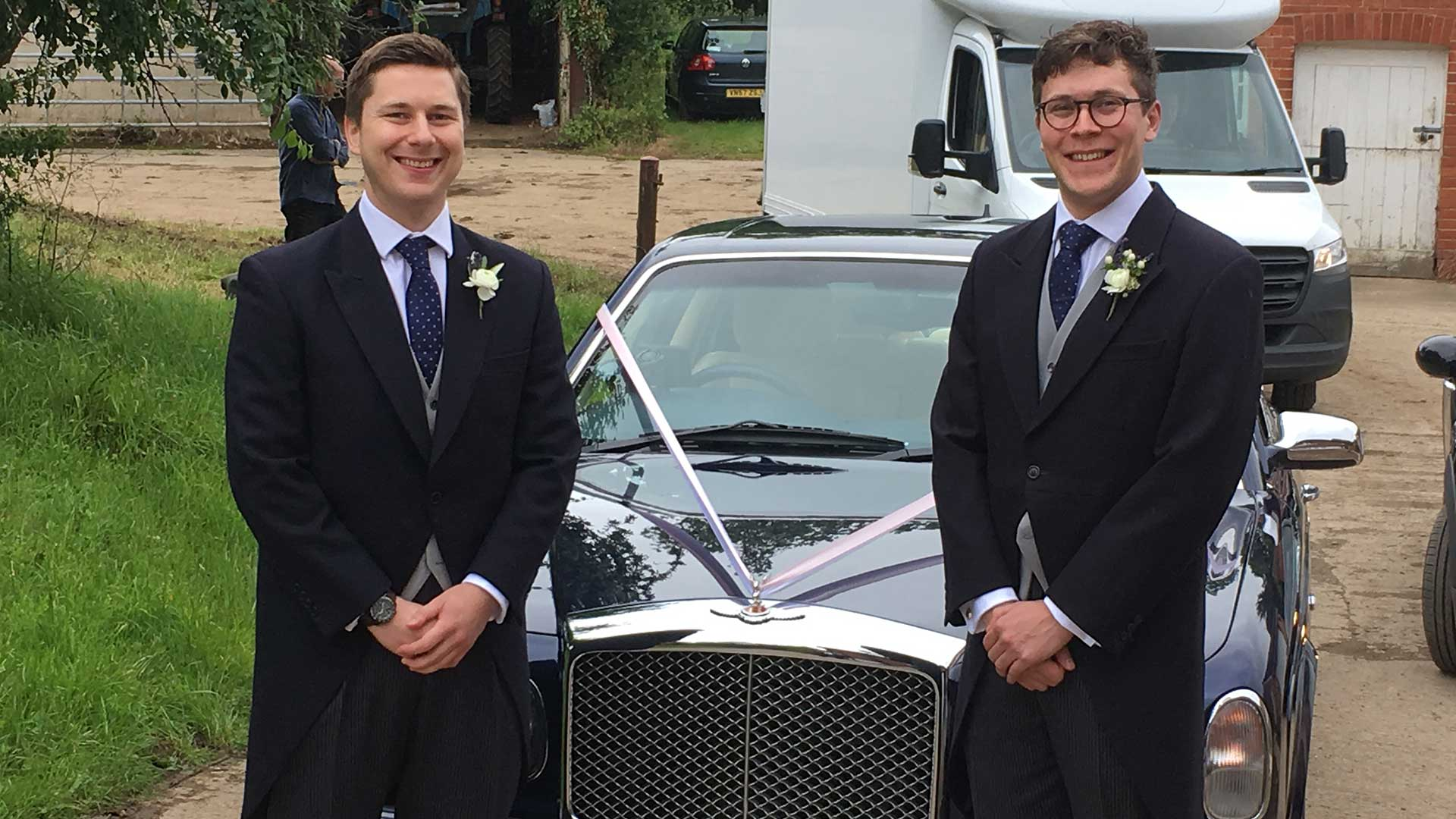 Chris and best man with the Bentley Arnage in Blue