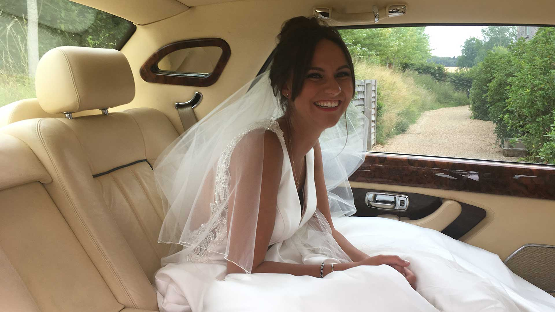 Fawn in the Bentley Arnage wedding car