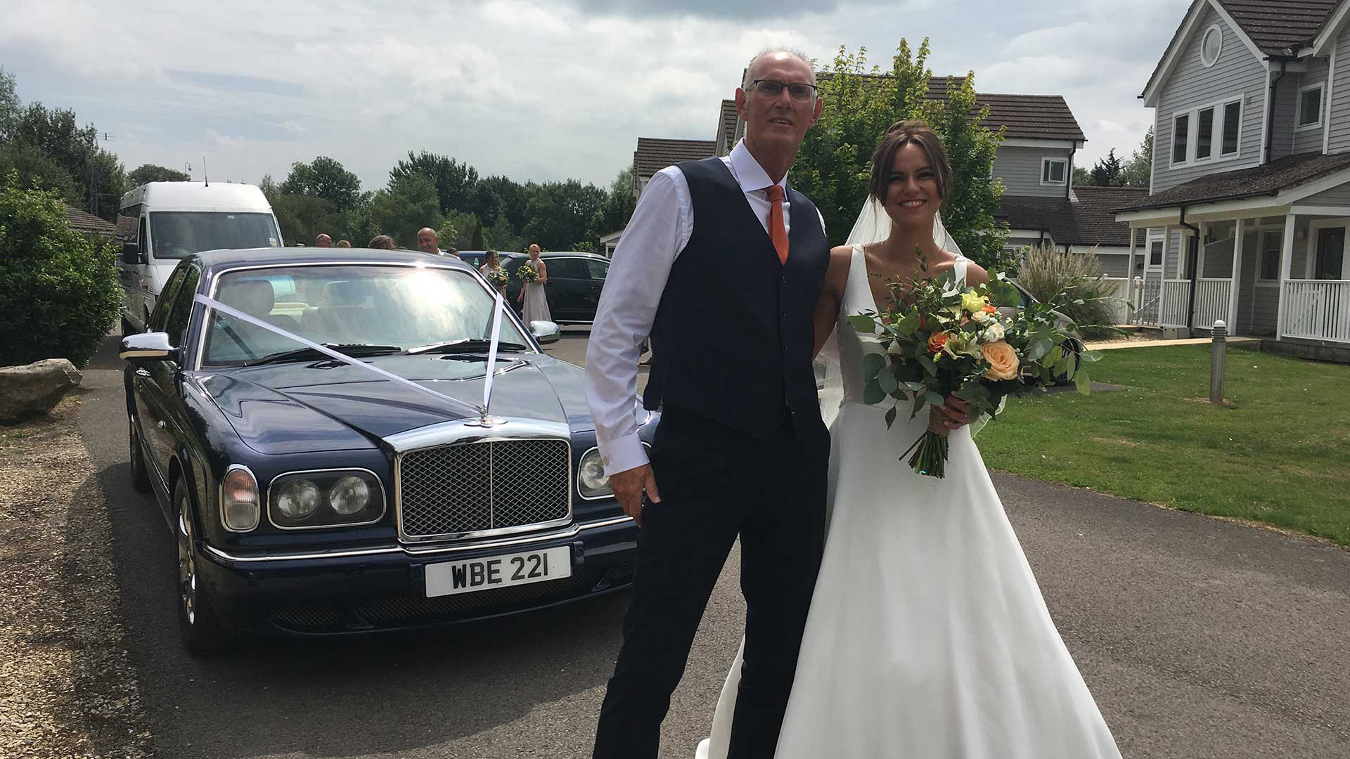 Fawn and father with the Bentley Arnage in Blue