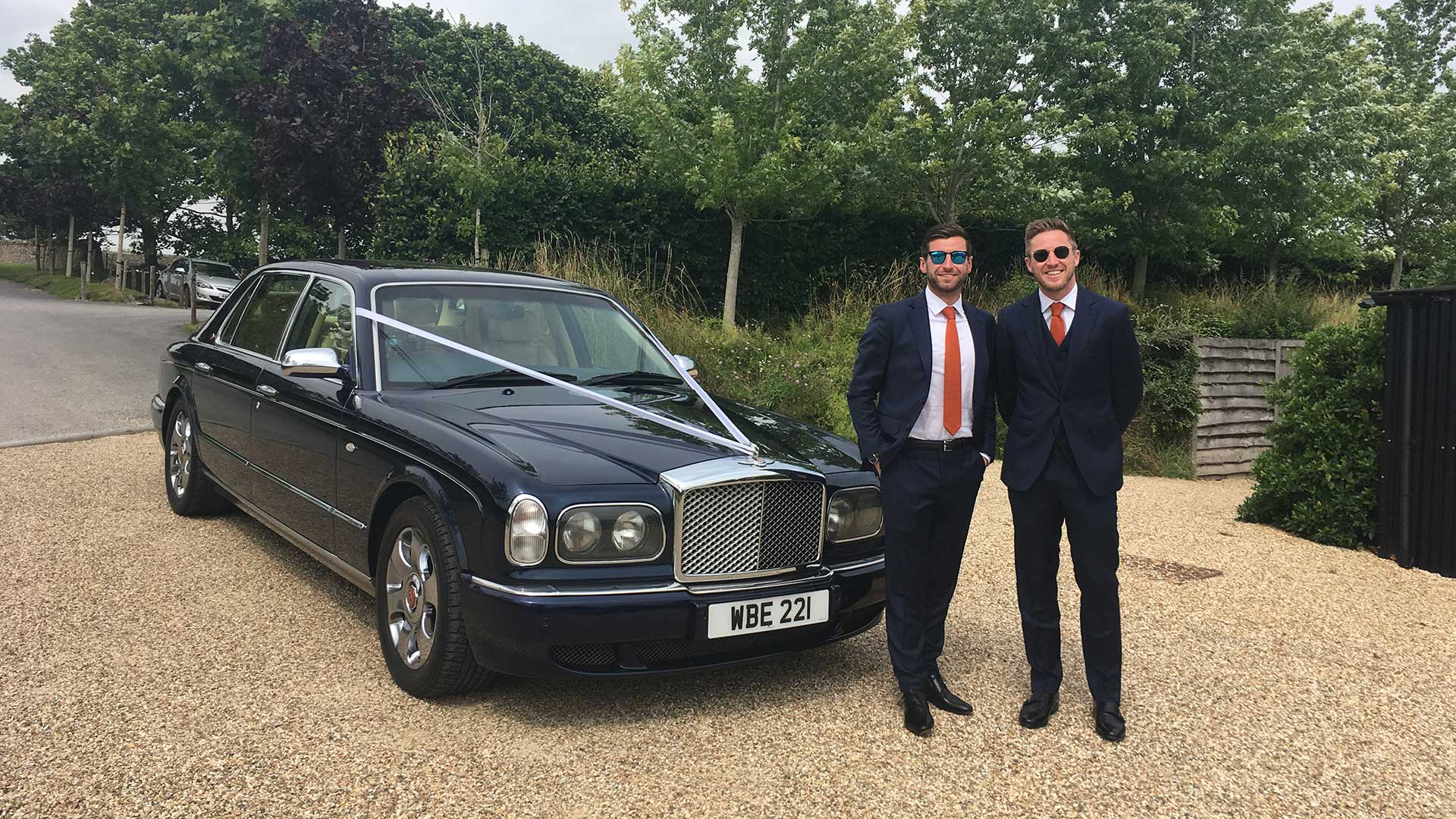 Olly and groomsman with the Bentley Arnage in Blue