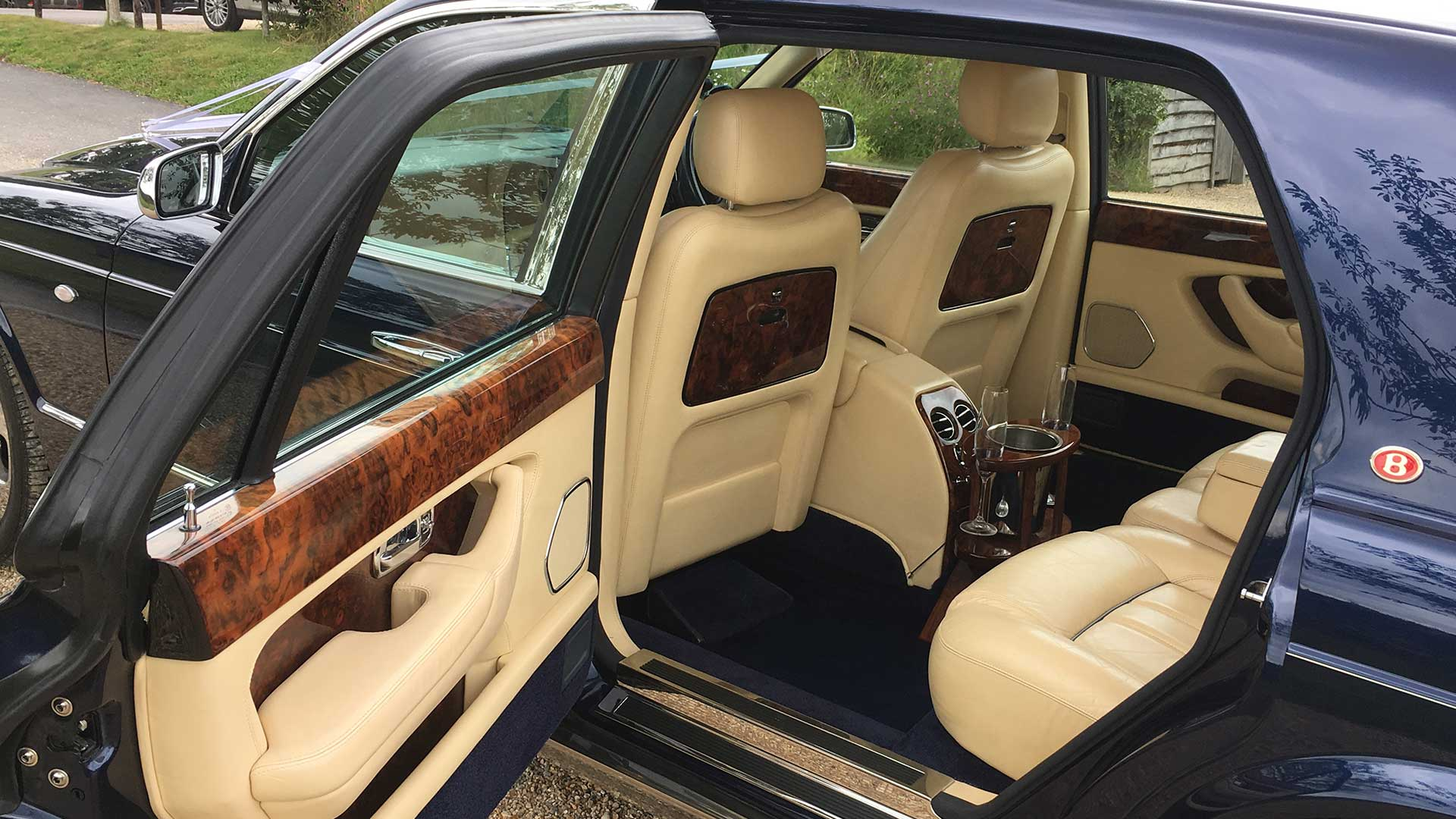 The inside of the Bentley Arnage wedding car in Blue