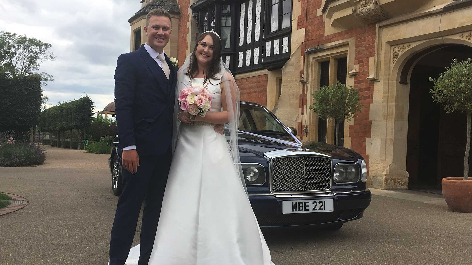 Hannah and Matt with the Bentley Arnage wedding car in Blue