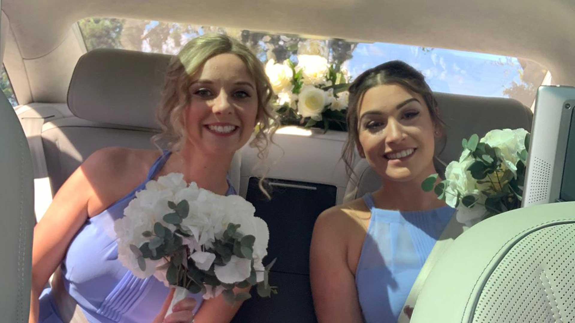 Bridesmaids in the Bentley Arnage in Blue