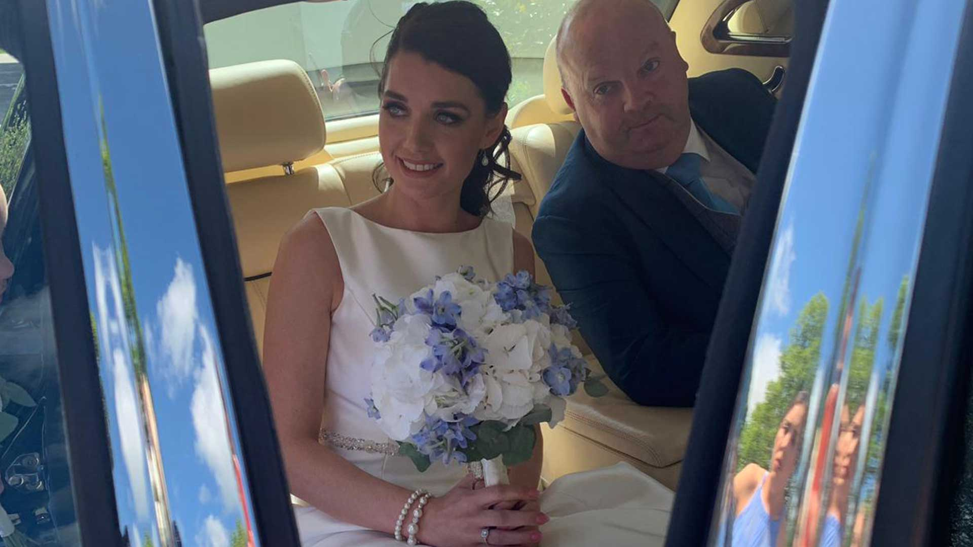 Amy and father in the Bentley Arnage in Blue