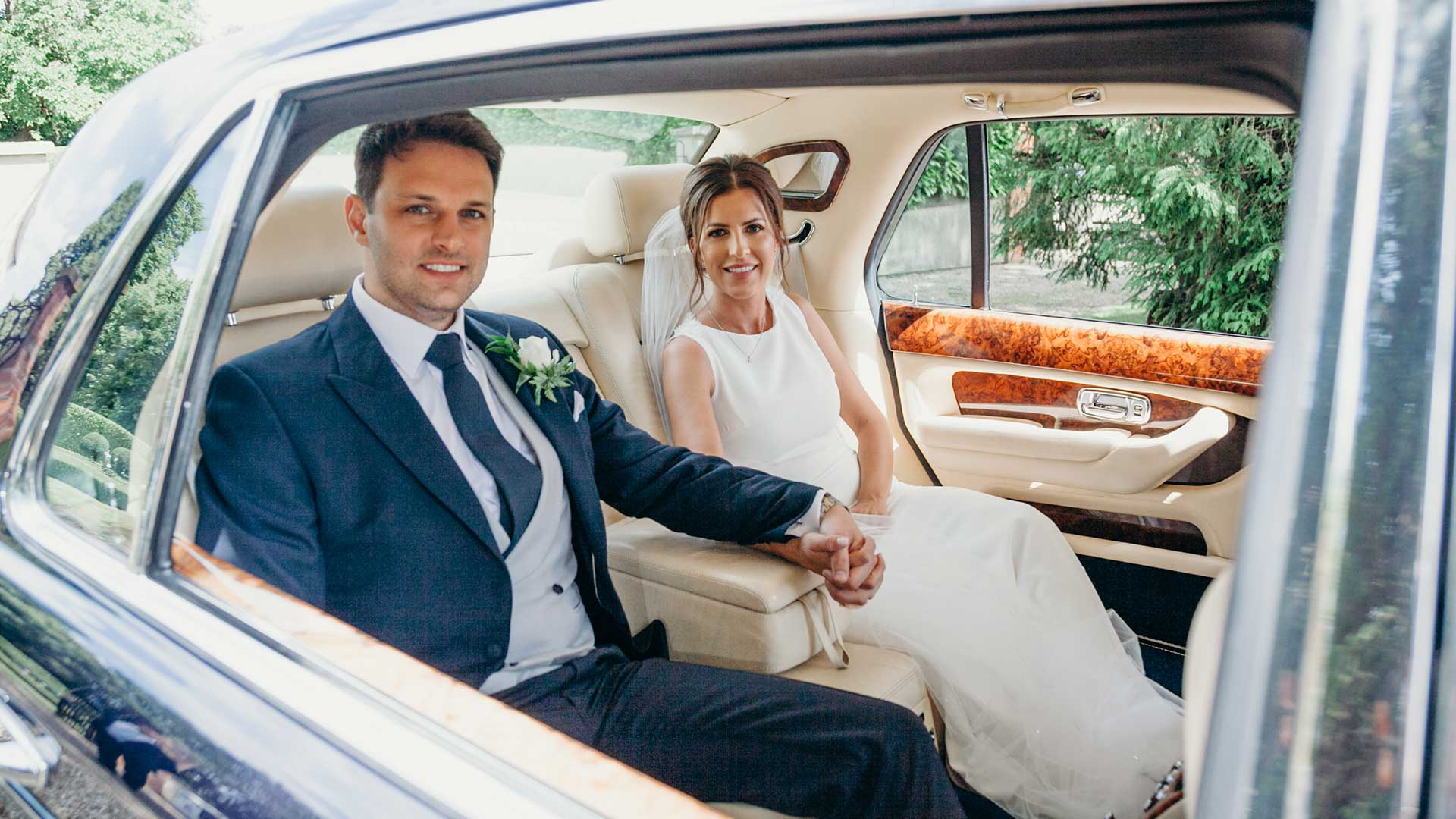Rhys and Laura in the Bentley Arnage in Blue